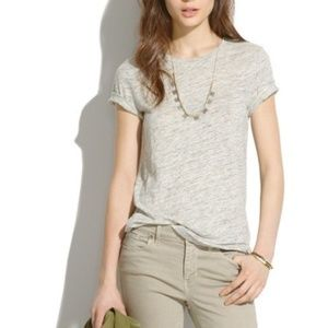 Madewell Linen Crewneck Tee XS Grey Heathered